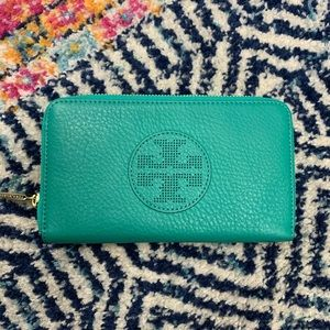 Tory Burch Wallet Green Teal